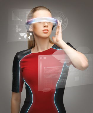 woman with futuristic glasses